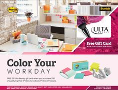 Free $10 Ulta Beauty gift card when you purchase $50 of qualifying Post-it Brand and Scotch Brand Products #rebate