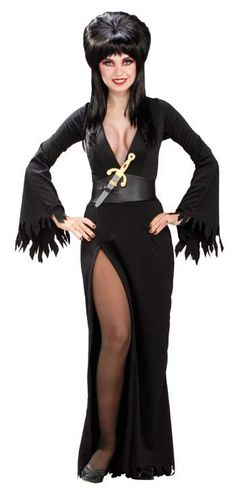High cut dress with low V-neck front, belt and plastic dagger. Wig sold separately. Adult XS 0-2.