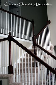 Chic on a Shoestring Decorating: How to Stain Stair Railings and Banisters----Bryan's next job for me.