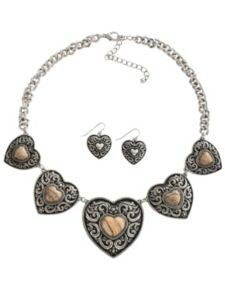 Sliver necklace with black hearts with gold hearts in the middle. To go with it the matching heart earnings. Found at sheplers.com