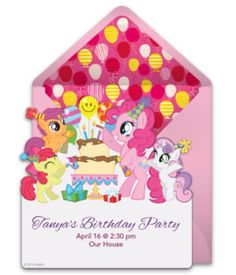 Customizable My Little Pony Birthday online invitations. Easy to personalize and send for a My Little Pony birthday party. #punchbowl