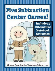 Winter Subtraction Centers and Interactive Notebook Activities #TPT #TeachersFollowTeachers #Subtraction www.FernSmithsClassroomIdeas.com