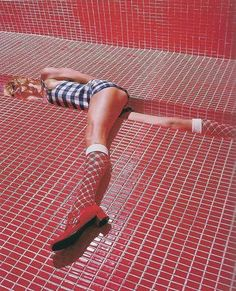 Meanwhile Michelle was really starting to love red! She was amazed that her red knee socks matched the new tile floor in her favorite mall.