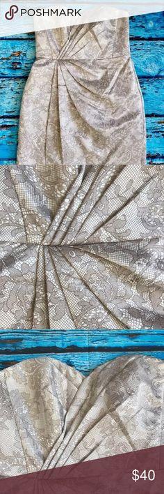 Davids bridal mini dress with lining silver 12 Davids bridal mini dress. Rehearsal. Bridesmaid. Formal. Size 12. Silver. Floral with lining. David's Bridal Dresses Strapless