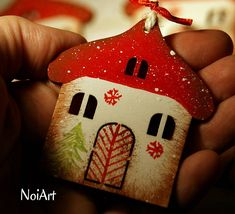 Vianoce - Vianočná ozdoba Chalúpka zasnežená... - 4728685_