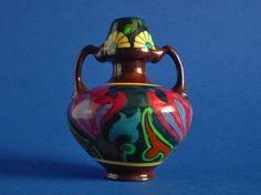 Wileman Intarsio Miniature Two Handled Vase by Frederick Rhead Art Nouveau Flowers, Dark Navy Blue, Shape Patterns, Pottery Art, Miniatures, Vase, Shapes, Purple, Prints