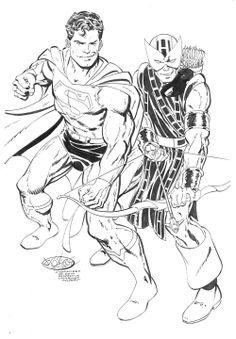 Superman & Hawkeye commission by John Byrne. 2014.