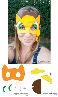 Printable Apple Jack My Little Pony Mask - illistyle.com #MyLittlePony #MLP #bronies
