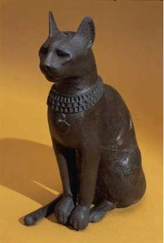 Bronze cat statuette Ancient Egypt.