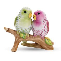 """Herend Hand Painted Porcelain Figurine """"Lovebirds on Branch"""" Key Lime Raspberry Fishnet Gold Accents."""