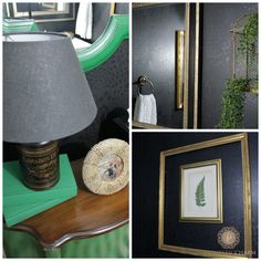 Powder Room Reveal - black and green with gold - very dramatic!| http://www.domesticcharm.com/powder-room-reveal/