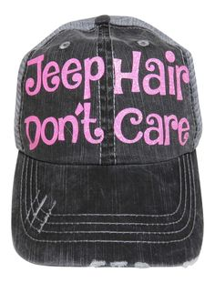 """Neon Pink Glitter """"Jeep Hair Don't Care"""" Grey Trucker Cap!  Order at www.shopspiritcaps.com"""