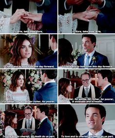 Ezra and aria wedding pll Best Series, Tv Series, Movies Showing, Movies And Tv Shows, Pll Finale, Ezra And Aria, Pretty Little Liars Aria, Cc Fashion, Best Tv Couples