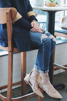 Coffee Break, Zara lace up flats