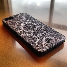 Damask Dark Wood iPhone Hybrid Case by Keyway Designs