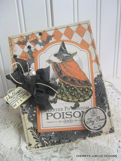 vintage style Halloween old witch poisen label stitched handmade card