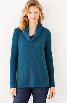 waffle-knit cowl-neck top