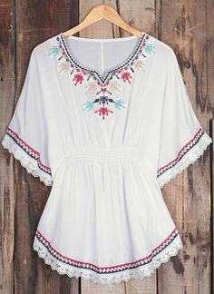 Classic embroidered top to have with free shipping&easy return! This cute ethnic top is detailed with bat sleeve&elastic waist! Find it at Cupshe.com New Top Design, Fashion Ideas, Fashion Outfits, Bat Sleeve, Baby Dress, Trendy Outfits, Elastic Waist, Tunic Tops, Embroidery