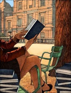 Reading girl by Miles Hyman reading art painting illustration drawing I Love Books, Great Books, Books To Read, Buy Books, Reading Art, Woman Reading, Reading Books, Girl Reading Book, Reading Quotes