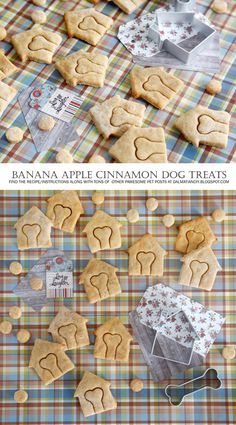 This banana apple cinnamon dog treat recipe smells fantastic whilst baking and our dogs love the treats. Puppy Treats, Diy Dog Treats, Gourmet Dog Treats, Homemade Dog Treats, Healthy Dog Treats, Dog Cookie Recipes, Dog Biscuit Recipes, Dog Treat Recipes, Dog Food Recipes