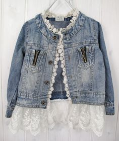 {The Ella Denim Jacket } is A must have in every girls closetDenim Jacket with a lace Trim.