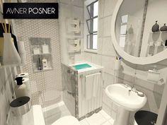 Projeto 3D de banheiro para ambiente de dimensões reduzidas.