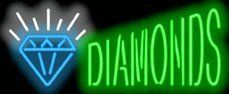 """Diamonds Neon Sign by Pawn Neon Signs. $179.00. Mounted on a Black Backing for Maximum Visibility!. Brand New, Quality Neon Sign - Delivered to Your Door in a Few Days!. Neon Attracts Immediate Attention!. 32"""" wide x 13"""" high. This Neon Sign features Green Letters with a Blue & White Graphic and measures 32 wide x 13 high. Priced lower than ever, this sign can be delivered to you in just a few days!"""