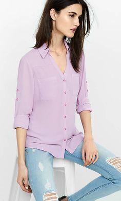 Original Fit Convertible Sleeve Portofino Shirt from EXPRESS