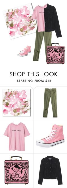 """Casual"" by katieness ❤ liked on Polyvore featuring Oliver Gal Artist Co., Current/Elliott, MANGO, Converse, Olympia Le-Tan and Calvin Klein Jeans"