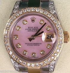 Rolex Rolex Ladies Datejust Two Tone Mother Of Pearl Pink Diamonds Dial Bezel 179173
