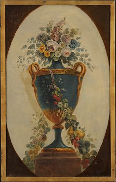 Vase of Flowers Draped with Garlands French Painter, 18th century