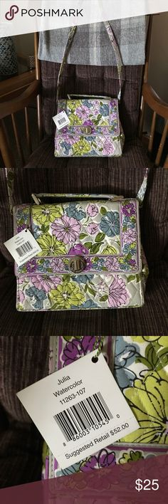 NWT Vera Bradley Julia in Watercolor pattern. NWT Vera Bradley Julia in Watercolor pattern. Has a removable strap. Structured bag. This is a re-posh - just not my style. Vera Bradley Bags Crossbody Bags