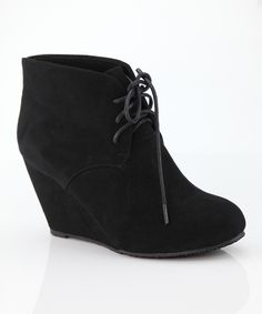 Love this Anna Shoes Black Sally Wedge Bootie by Anna Shoes on #zulily! #zulilyfinds