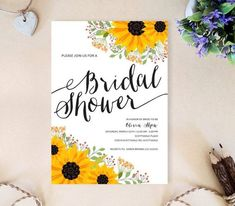 Affordable bridal shower invitations printed on premium cardstock Sunflower invitations will be perfect for a fall bridal shower Return address printing as low as 03 per. Sunflower Wedding Invitations, Rustic Bridal Shower Invitations, Cheap Wedding Invitations, Bridal Shower Rustic, Bridal Showers, Brunch Invitations, Invitations Online, Wedding Favours, Invitation Templates