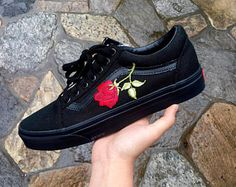 aac1fa8b3fba All Black Roses Custom Vans