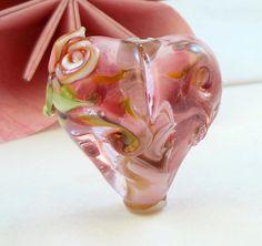 Lampwork Bead Heart Pendant Bead   'First Love' by RoxeMarie, $15.50 #RoxeMariechat