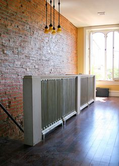 Old radiators repurposed into a railing.