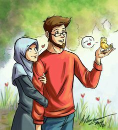 In Islam compatibility in marriage is connected to religious commitment & righteousness not money, status or lineage Muslim Couple Quotes, Cute Muslim Couples, Cute Couples, Love Cartoon Couple, Islam Marriage, Islamic Cartoon, Girly M, Muslim Family, Love In Islam