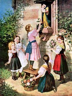 Children honoring Our Lady! Spiritual Images, Religious Images, Religious Art, Catholic Kids, Catholic Saints, Roman Catholic, Blessed Mother Mary, Blessed Virgin Mary, Vintage Holy Cards