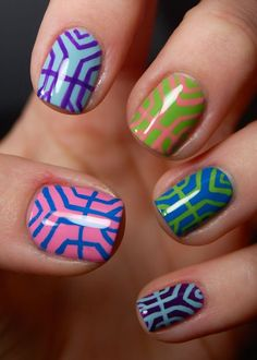 Colorful geometric nails. | http://www.makeup.com/article/colorful-geometric-nails-pinterest-of-the-week-how-to/
