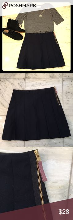 Crewcuts pleated navy skirt w/ zipper EUC Navy Crewcuts skirt with pleats and side zipper. My daughter wore this once for a short time. This came from the regular J Crew/Crewcuts store (NOT  the factory store). It's really cute with a top tucked in and booties.   Pet-free and smoke-free home.  Reasonable offers welcome. No trades. Crewcuts Bottoms Skirts