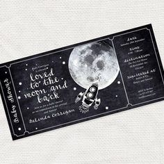 printable baby shower invitation boarding pass style ticket digital file space rocket stars chalkboard sketch black - moon and back design