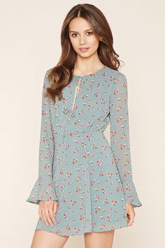 Forever 21 Contemporary - A woven dress featuring an allover floral print, front self-tie slit accents, long trumpet sleeves, and a concealed back zipper.