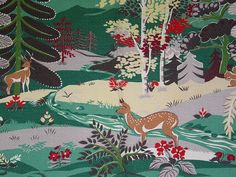 Vintage barkcloth fabric.  This would be perfect for a cabin