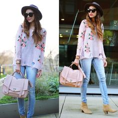 Floral sweater & jeans <3
