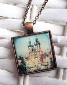 Prague Pendant - Prague Polaroid Pendant - Wearable Photo Art