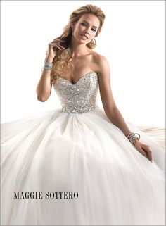 Maggie Sottero Esme. Fully beaded bodice with full English net ballgown skirt. TheBridalCollection.com