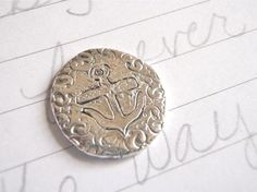 recycled silver anchor pocket token with quote by peacesofindigo
