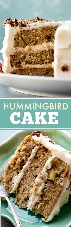 The BEST hummingbird cake I've ever had! Exceptionally moist and flavorful with silky cream cheese frosting! Recipe on sallysbakingaddiction.com