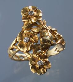 GEORGES LE TURCQ b. 1859 Attrib. Art Nouveau Floral Ring   Gold  Diamond H: 2.5 cm (0.98 in) Marks: Eagle's headFrench, c.1900Ring Case